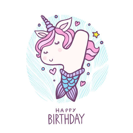 Cute Number Four Mermaid Unicorn Character Vector Illustration. Beautiful cartoon element for Kids Birthday Party invitation, greeting card and cake topper design. Vectores