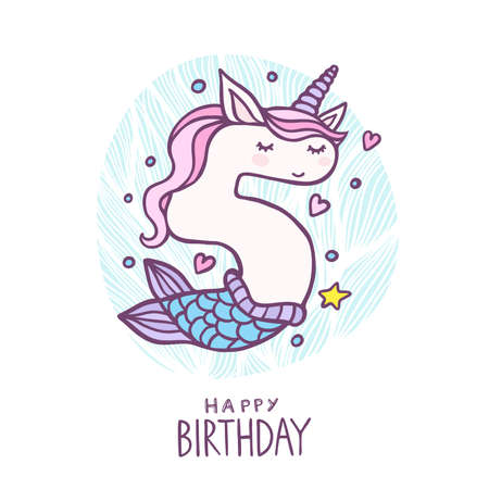 Cute Number Five Mermaid Unicorn Character Vector Illustration. Beautiful cartoon element for Kids Birthday Party invitation, greeting card and cake topper design.