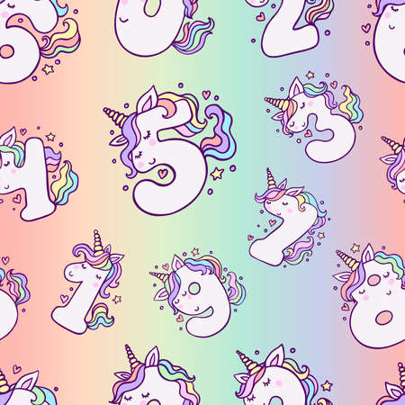 Numbers With Cute Unicorns Seamless Pattern. Beautiful cartoon background for Kids Birthday Party invitation, greeting card and cake toppers design.