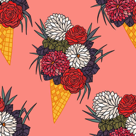 Beautiful bouquet of flowers in ice cream waffle cone. Vector floral seamless pattern.