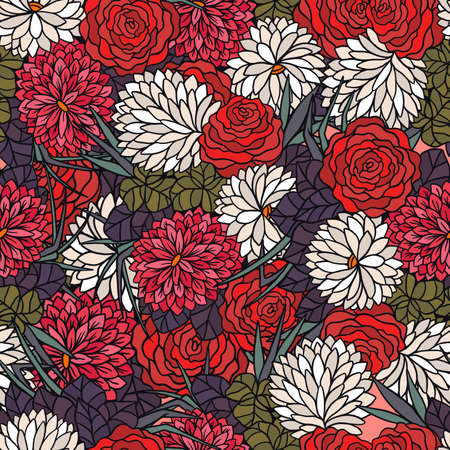 Creative flowers background with floral element. Design for fabric and textile. Good for card, invitation, brochure and web design.