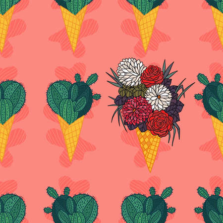 Cactus in a ice cream waffle cone vector seamless pattern. Funny dessert. Succulent in cartoon style.