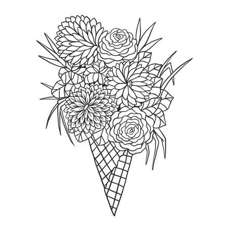 Beautiful bouquet of flowers in ice cream waffle cone. Vector floral illustration. Illustration