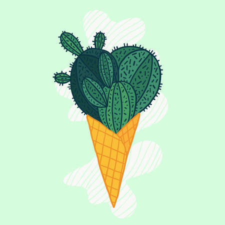Cactus in a ice cream waffle cone vector illustration. Funny dessert. Succulent in cartoon style. Illustration