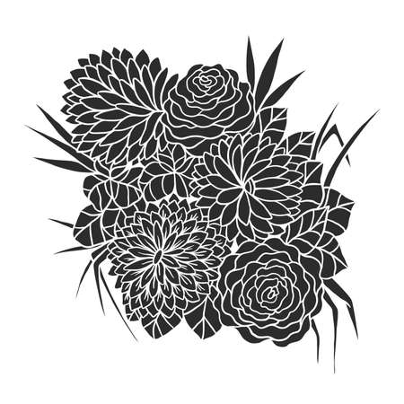 Flower bouquet vector illustration. Colorful composition of hand drawn flowers on a white background. Иллюстрация