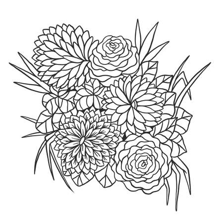 Flower bouquet vector illustration. Colorful composition of hand drawn flowers on a white background. Illustration