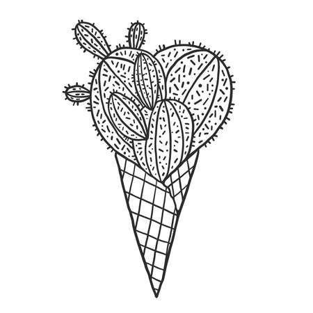 Cactus in a ice cream waffle cone vector illustration.