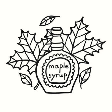 Tasty Doodle Maple Syrup And Leaves Illustration