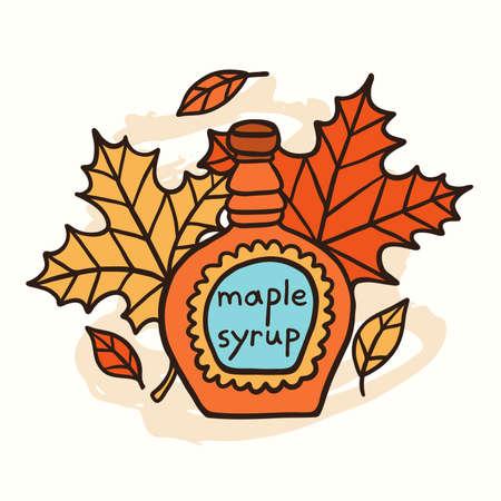 Tasty Doodle Maple Syrup And Leaves Vektoros illusztráció