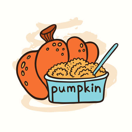 Pumpkin and pumpkin puree in a glass bowl. Doodle vector illustration.