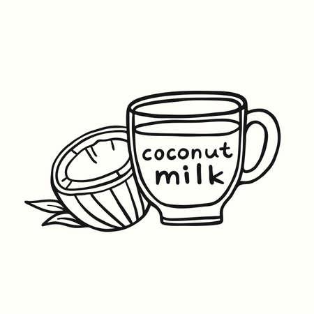 Coconut milk in a cup doodle vector illustration.
