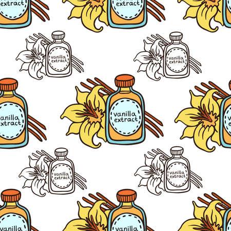 Doodle Vanilla Extract In Bottle Seamless Pattern Illustration