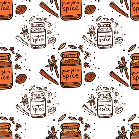 Homemade pumpkin spice doodle seamless pattern. Coffee restaurant brochure vector, coffee shop menu design.