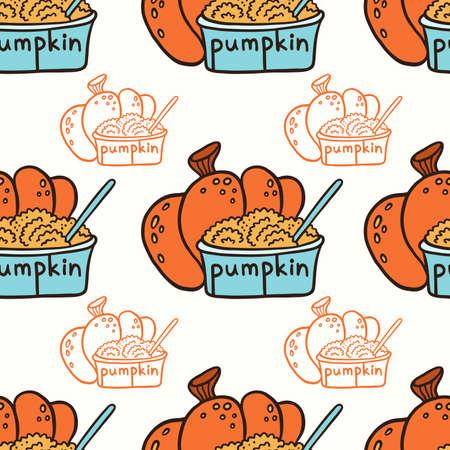 Pumpkin and pumpkin puree in a glass bowl. Doodle vector seamless pattern. Ilustração Vetorial