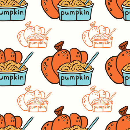 Pumpkin and pumpkin puree in a glass bowl. Doodle vector seamless pattern.