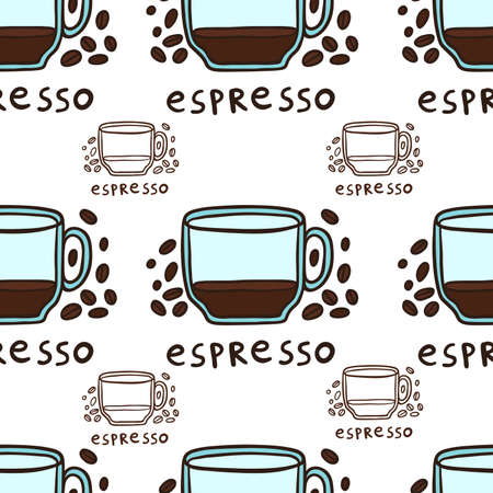 Half Cup Of Espresso And Coffee Beans Vector Seamless Pattern