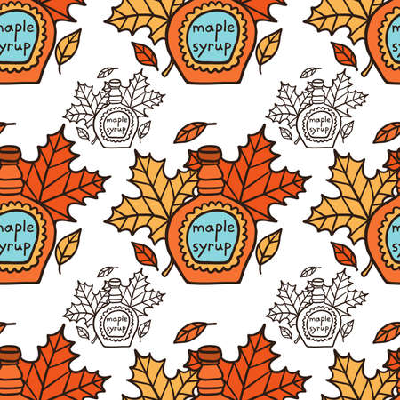 Tasty Doodle Maple Syrup And Leaves Seamless Pattern
