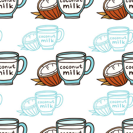 Coconut milk in a cup doodle vector seamless, pattern. Illustration