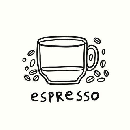 Half Cup Of Espresso And Coffee Beans Vector Illustration