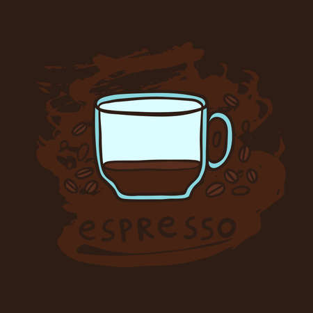 Half a cup of espresso and coffee beans vector illustration.