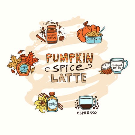 Pumpkin spice latte vector illustration with isolated doodle objects.