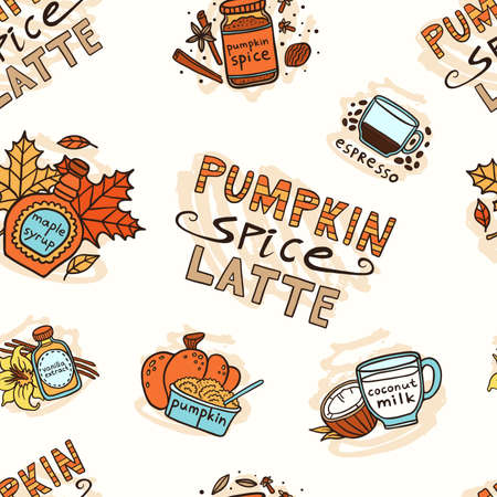 Pumpkin spice latte seamless pattern with doodle objects.