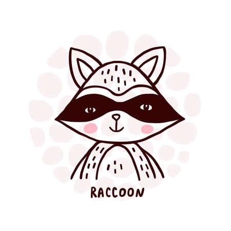 Cute Raccoon Portrait Ilustrace