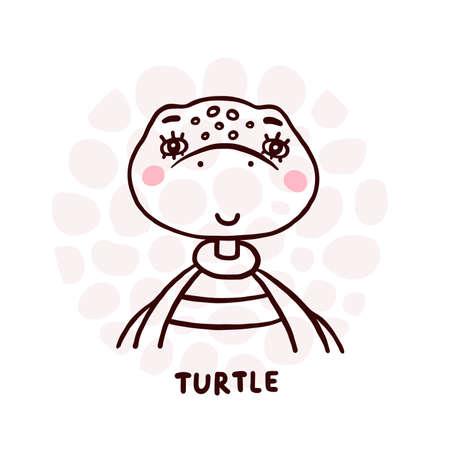 Cute Turtle Portrait Ilustrace