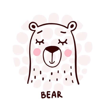 Cute bear portrait. Animal head vector icon.