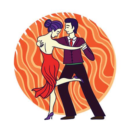 Couple dancing tango hand-drawn doodle illustration. Vector Illustration