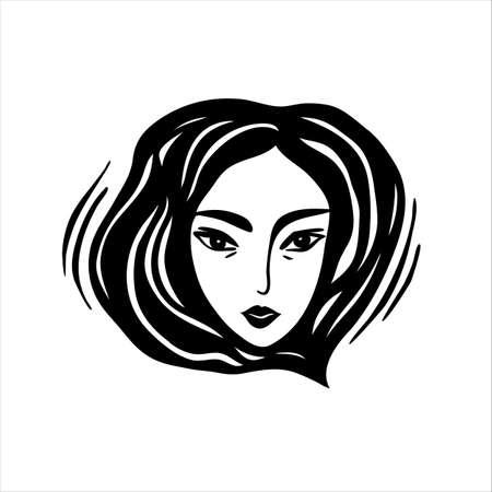 Girl Face Black And White Logo