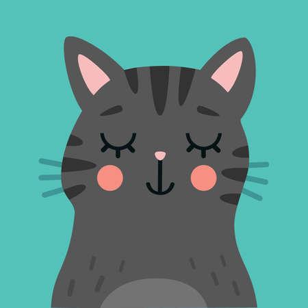 Cute cat cartoon portrait. Animal head vector illustration. Vectores