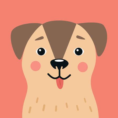 Cute Cartoon Dog Portrait Vector Illustration
