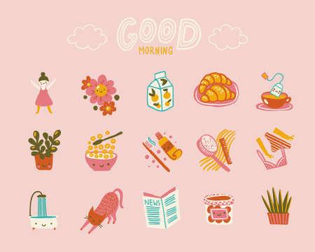 Good Morning Cute Positive Icons Set Çizim