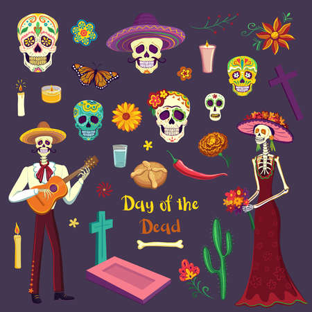 Set kleurtekeningen Day of the Dead. Mexicaanse symbolen Stockfoto - 88195977