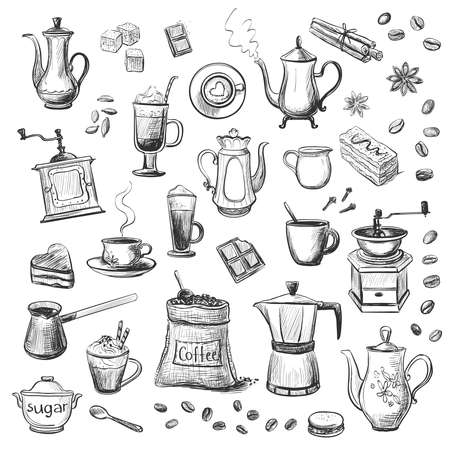 A collection of sketches on the theme of coffee.Hand drawn