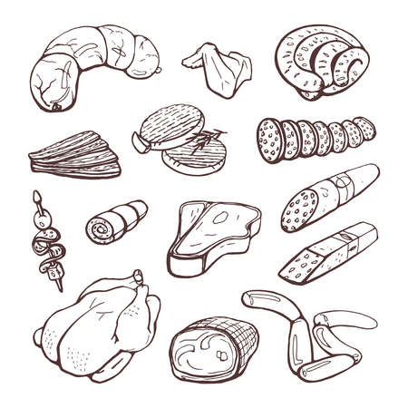 A set of sausages, meat, chicken. Isolated vector hand drawings on white background