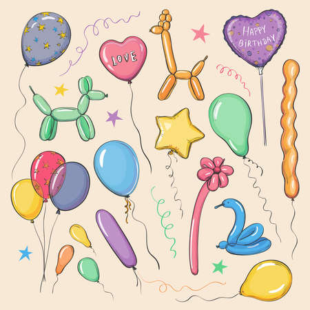 Vector collection of colored sketches balloons