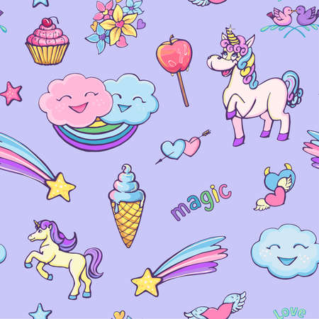 Seamless pattern on a violet background of unicorns, magic, rainbow, ice cream. Bright, funny graphics in a cartoon cute style