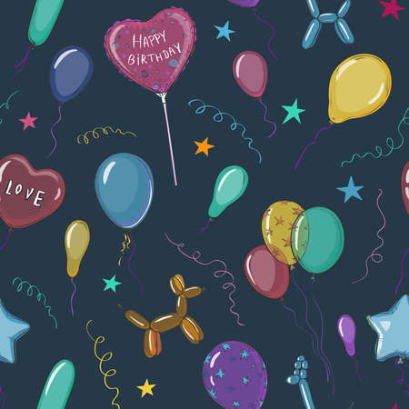 Vector seamless pattern with balloons on a dark background