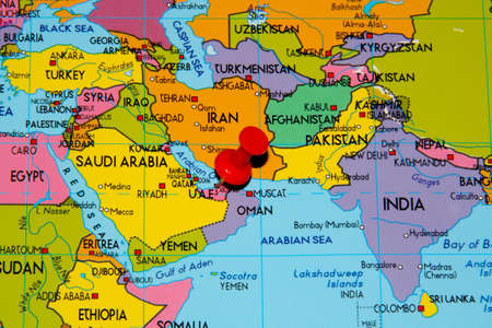 Colourful Map Over Middle East With Abu Dhabi Pinned Stock Photo ...