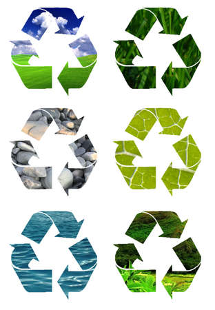 recycle symbol cut out of pictures of green grass, oceans, leaves, rocks and healthy green hill side photo