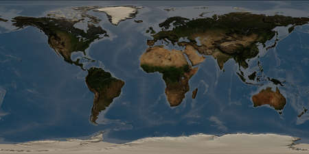 World map with highly detailed 3D terrain and shadows. Stock Photo - 74116370
