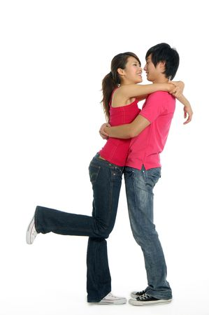 asian couple happy: Young happy couple in love Stock Photo
