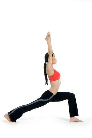Young asian doing yoga in the  room Stock Photo - 2937717