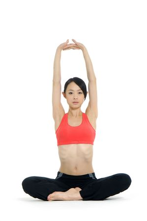 Young asian doing yoga in the  room Stock Photo - 2937727
