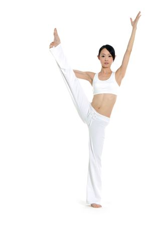 Young asian doing yoga in the  room Stock Photo - 2939862