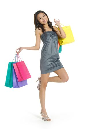 elation: asia Shopping pretty woman with bags