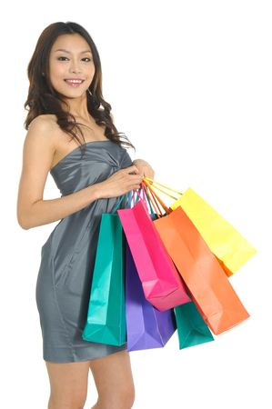 asia Shopping pretty woman with bags photo