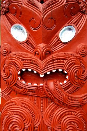 Elaborate Maori carving in rotor north island New Zealand